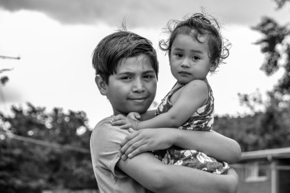 Irvin Rafael, age 11, future minotaur, from El Salvador and Riverdale, MD with his little sister.